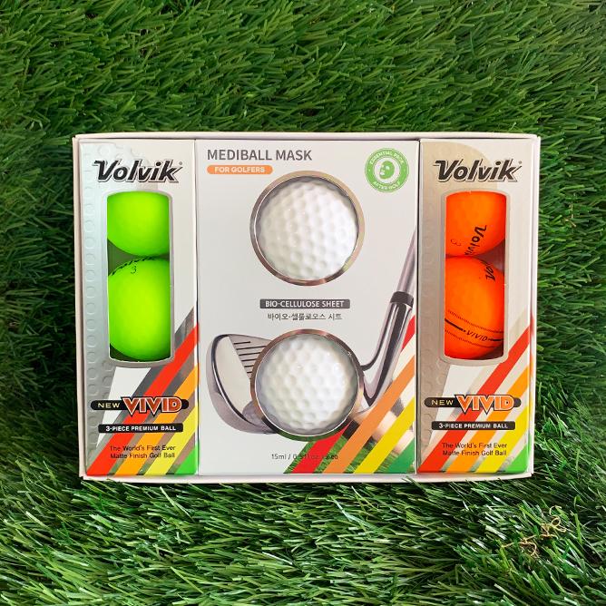 [볼빅X쉐어프렌즈] 뉴 비비드 골프공 6구(3pices) +메디볼 마스크팩 2개입 세트